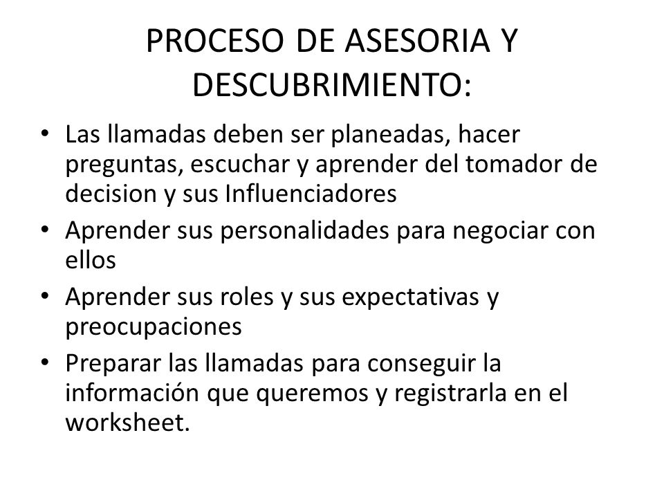 PROCESO DE ASESORIA Y DESCUBRIMIENTO: