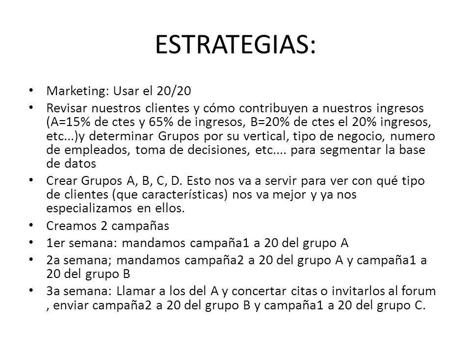 ESTRATEGIAS: Marketing: Usar el 20/20