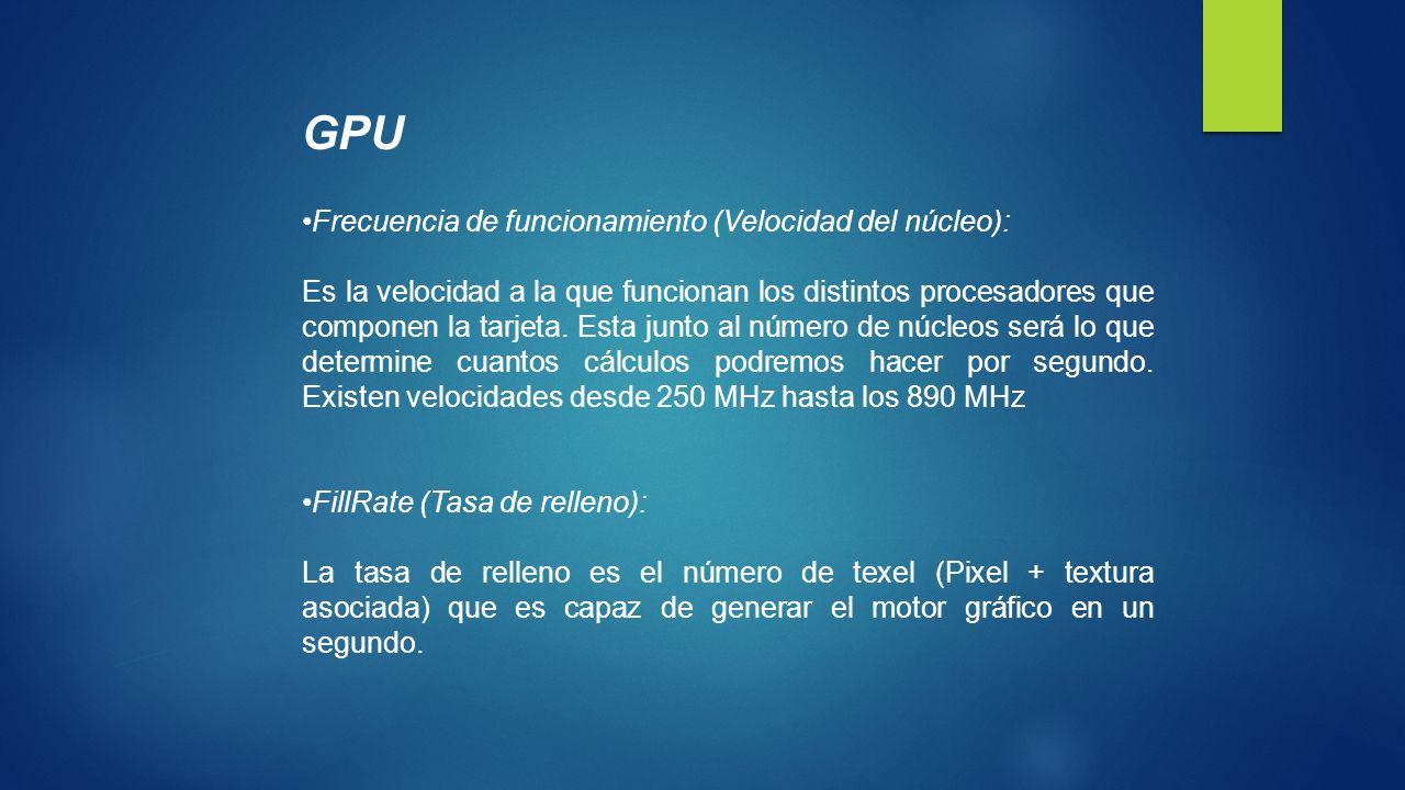 GPU Frecuencia de funcionamiento (Velocidad del núcleo):