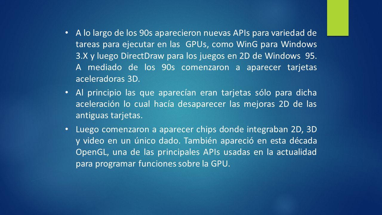A lo largo de los 90s aparecieron nuevas APIs para variedad de tareas para ejecutar en las GPUs, como WinG para Windows 3.X y luego DirectDraw para los juegos en 2D de Windows 95. A mediado de los 90s comenzaron a aparecer tarjetas aceleradoras 3D.