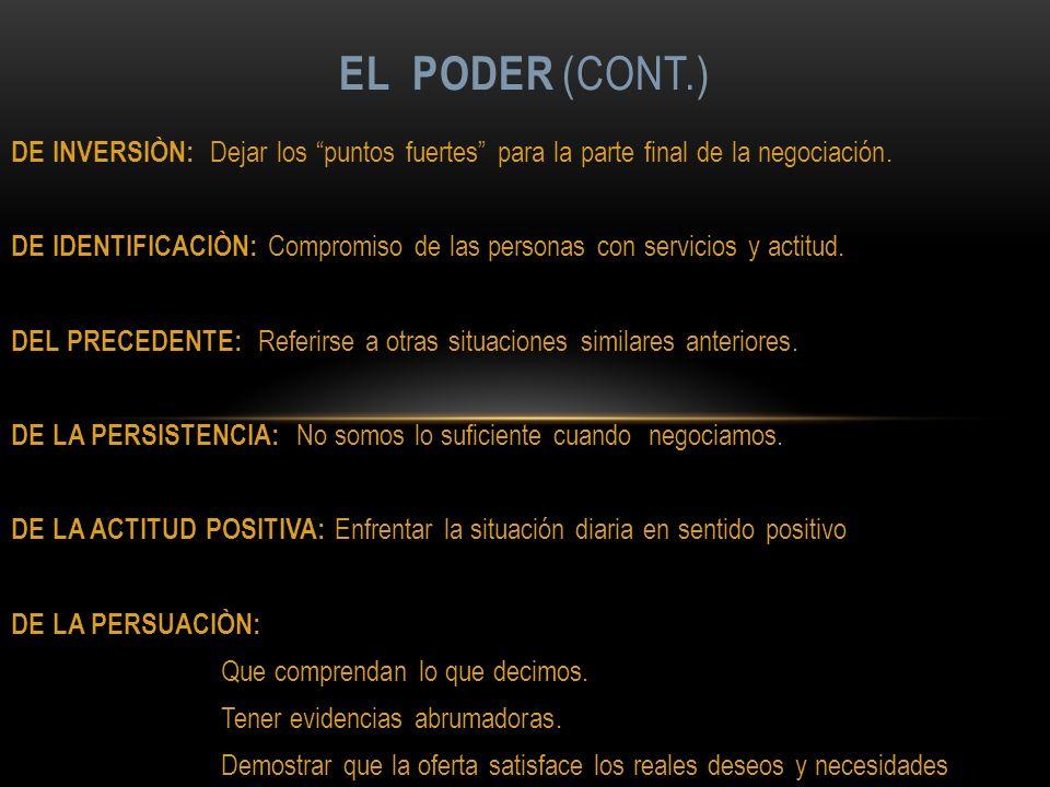 EL PODER (cont.) DE INVERSIÒN: Dejar los puntos fuertes para la parte final de la negociación.