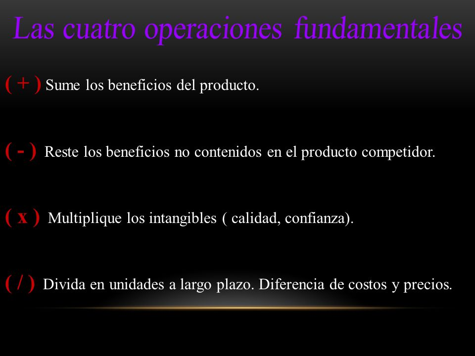 Las cuatro operaciones fundamentales