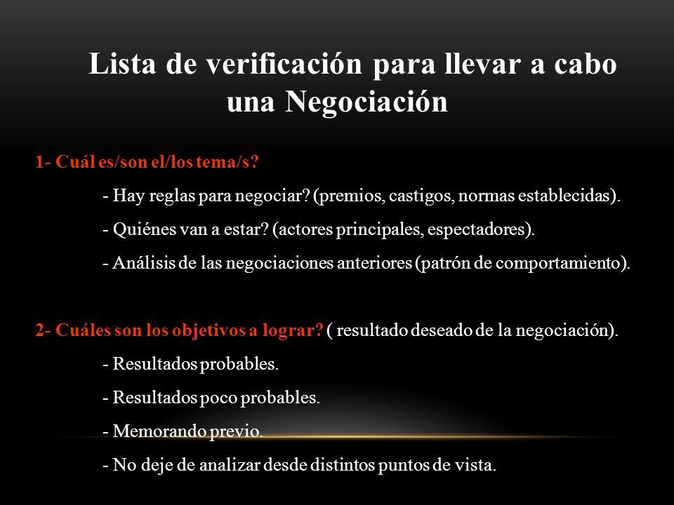 Lista de verificación para llevar a cabo una Negociación