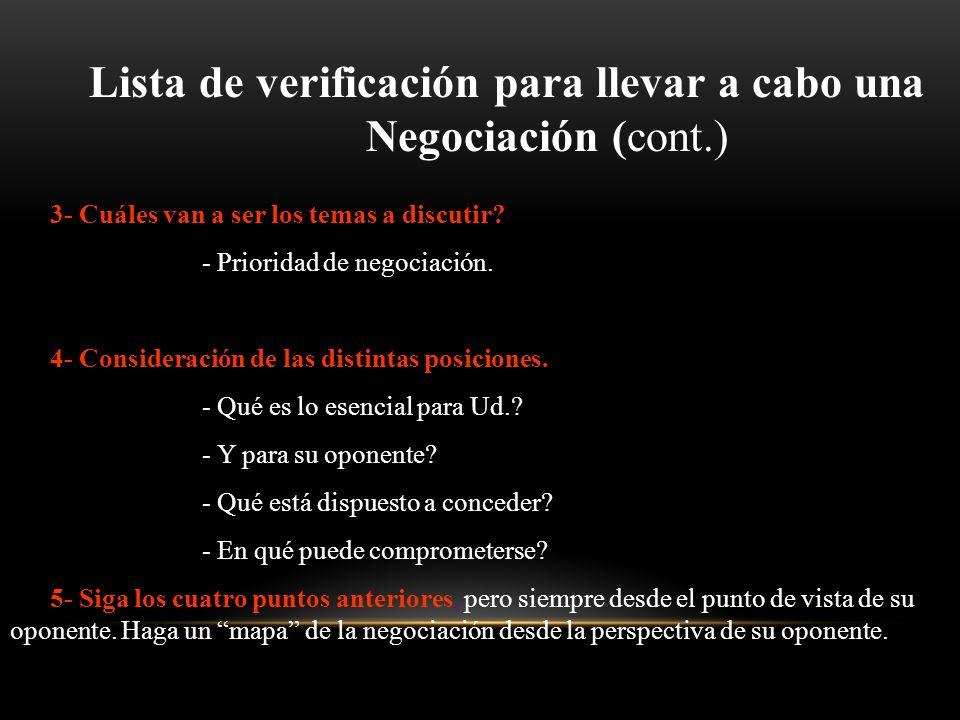 Lista de verificación para llevar a cabo una Negociación (cont.)