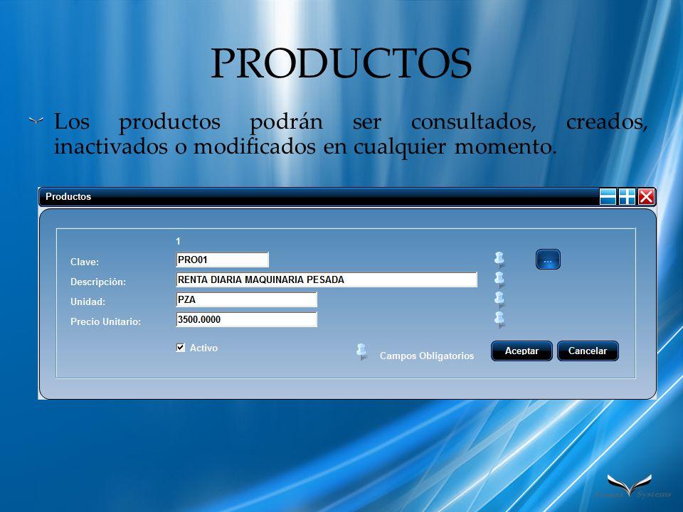 PRODUCTOS Los productos podrán ser consultados, creados, inactivados o modificados en cualquier momento.