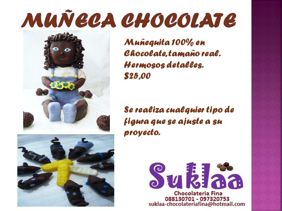 MUÑECA CHOCOLATE Muñequita 100% en Chocolate, tamaño real.