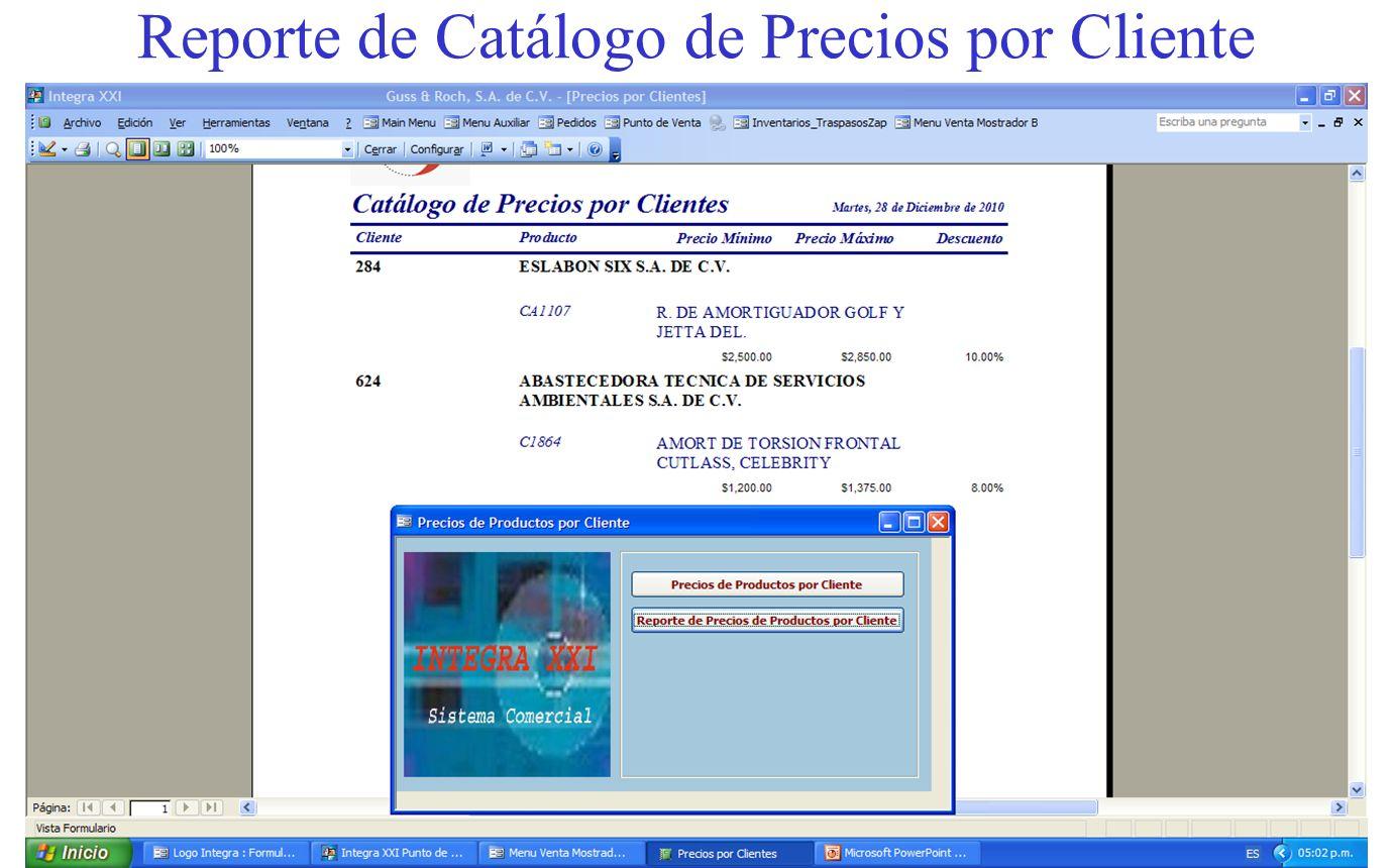 Reporte de Catálogo de Precios por Cliente