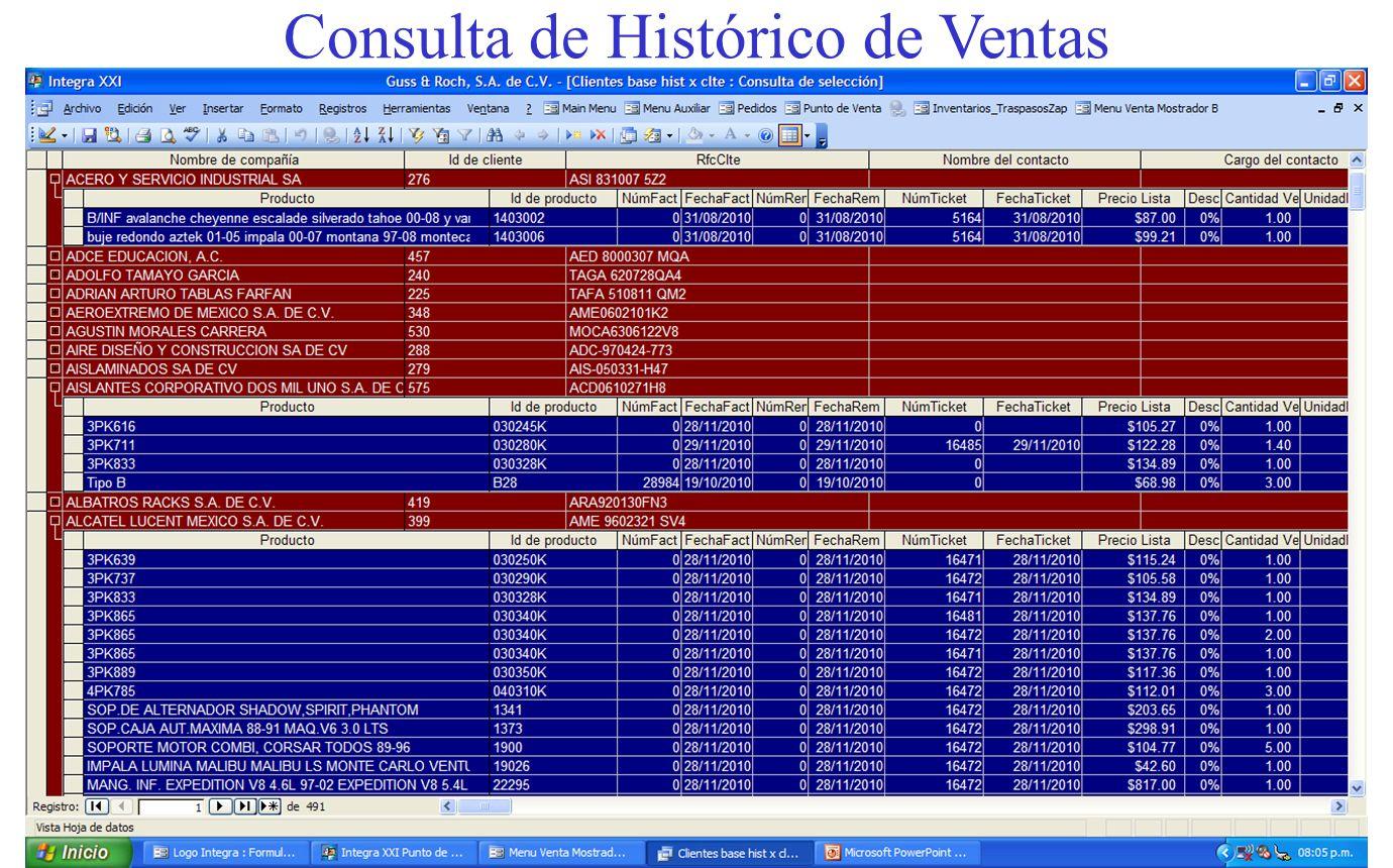 Consulta de Histórico de Ventas