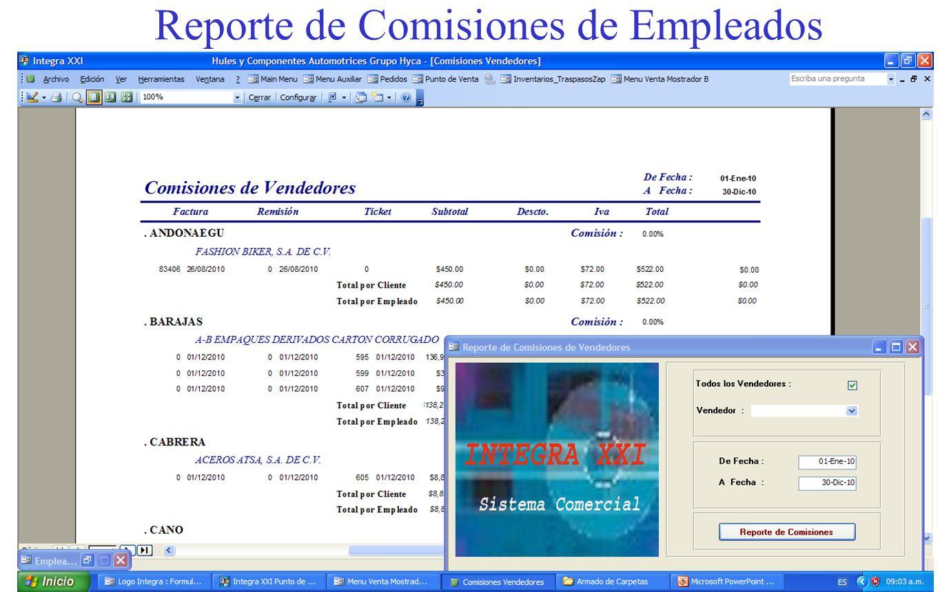 Reporte de Comisiones de Empleados