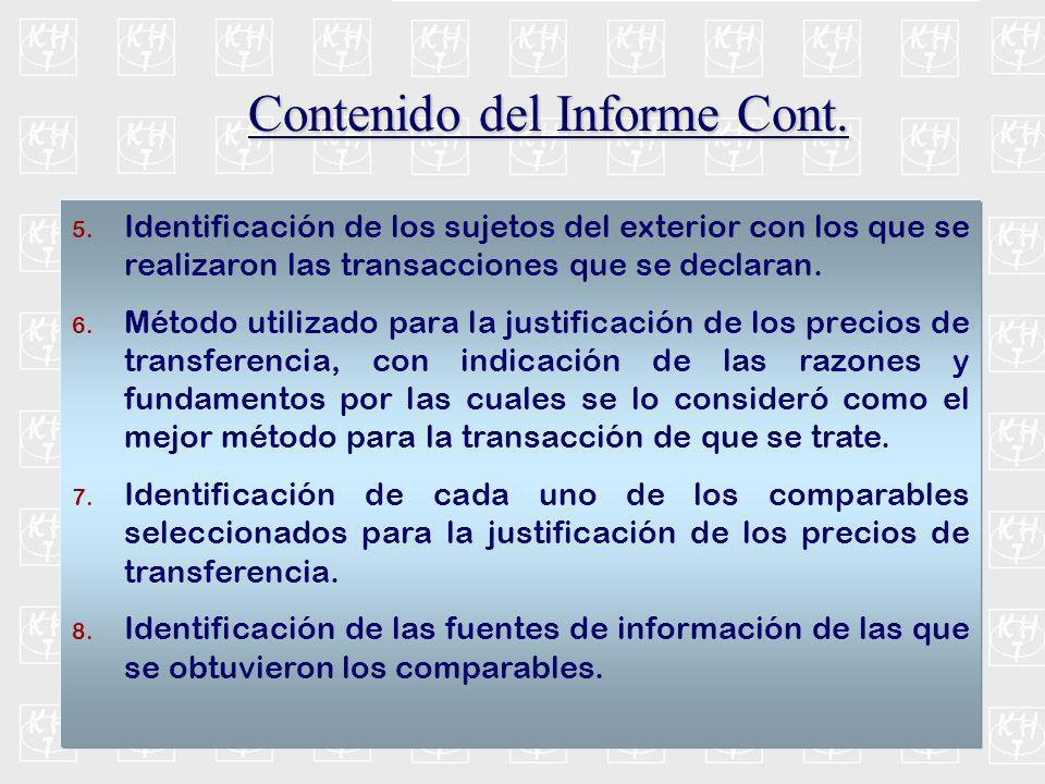 Contenido del Informe Cont.