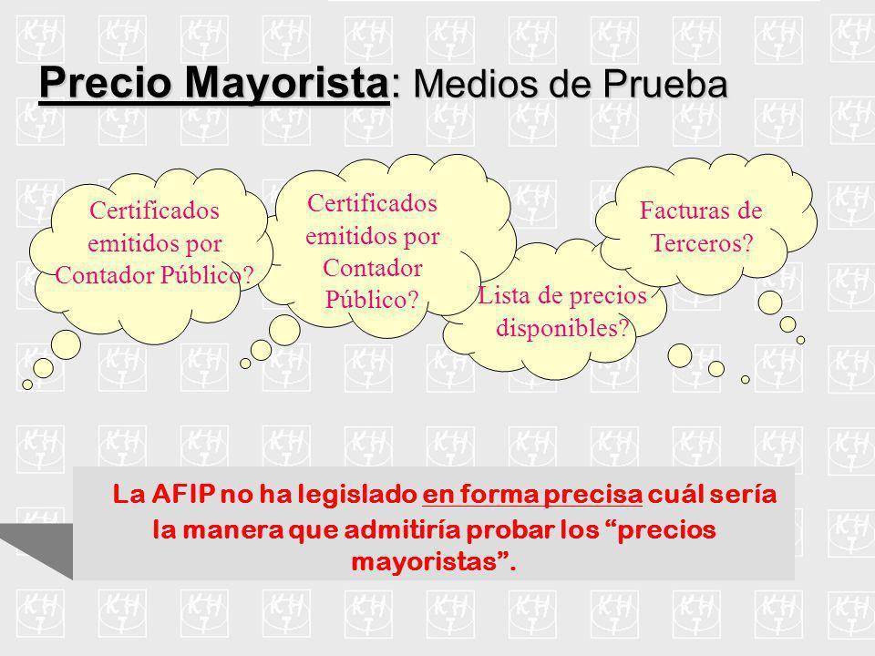 Consideraciones Precio Mayorista