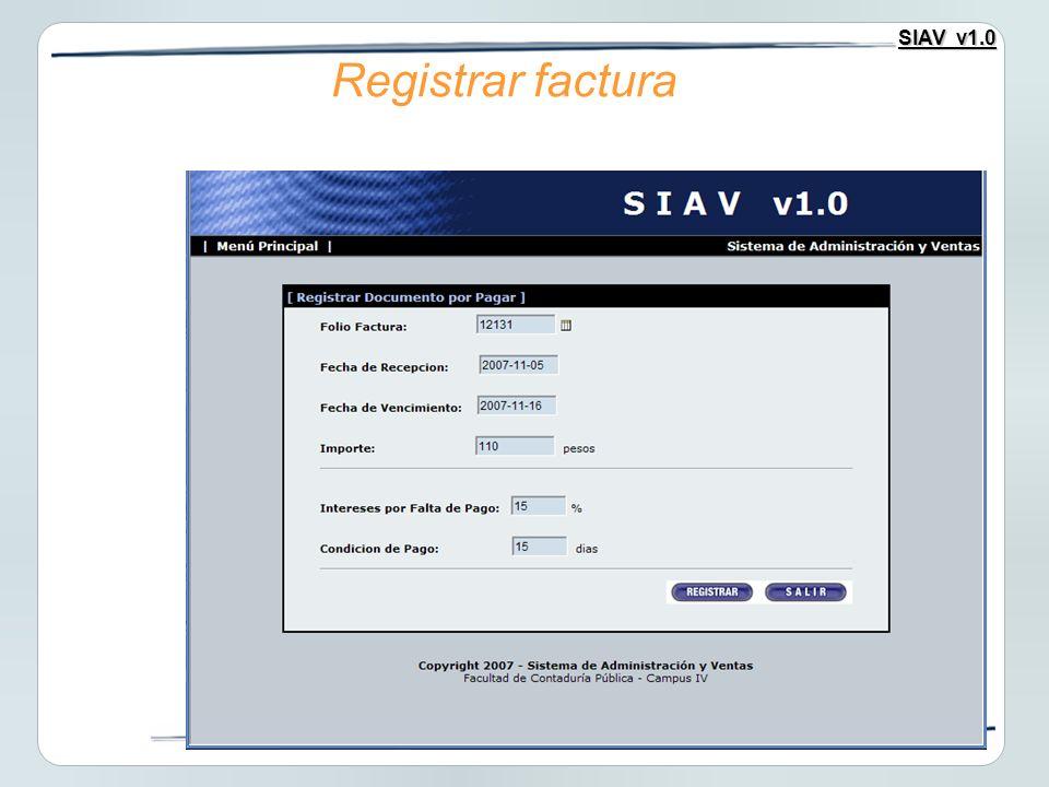 Registrar factura