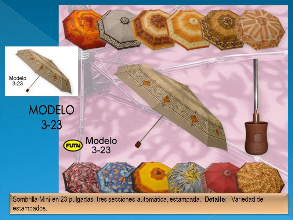 MODELO 3-23. Sombrilla Mini en 23 pulgadas, tres secciones automática, estampada.
