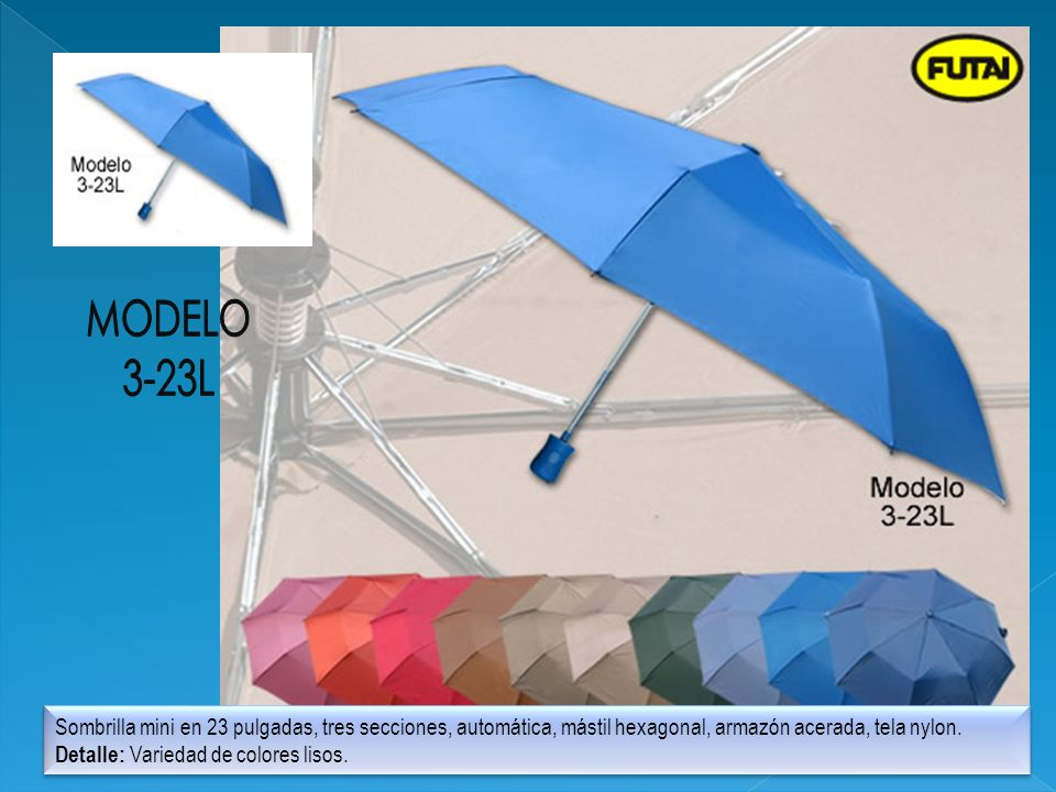 MODELO3-23L. Sombrilla mini en 23 pulgadas, tres secciones, automática, mástil hexagonal, armazón acerada, tela nylon.