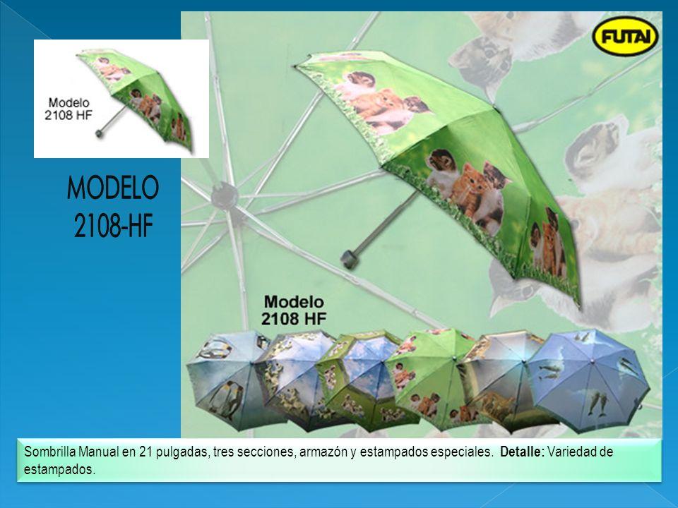 MODELO 2108-HF. Sombrilla Manual en 21 pulgadas, tres secciones, armazón y estampados especiales.