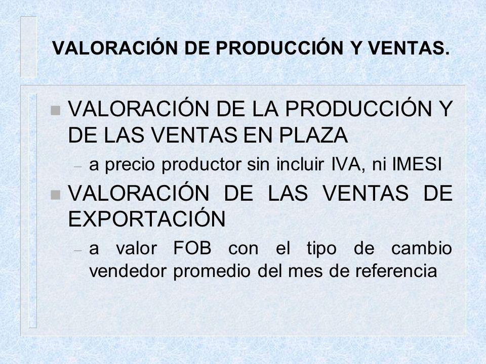 VALORACIÓN DE PRODUCCIÓN Y VENTAS.