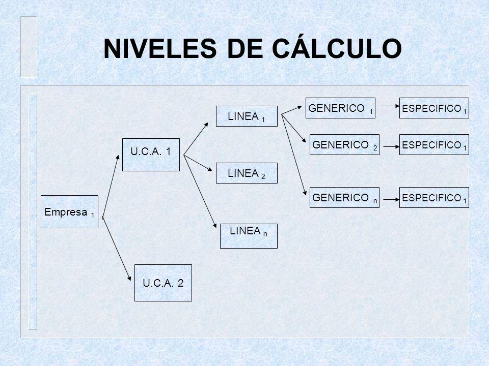 NIVELES DE CÁLCULO GENERICO 1 LINEA 1 GENERICO 2 U.C.A. 1 LINEA 2