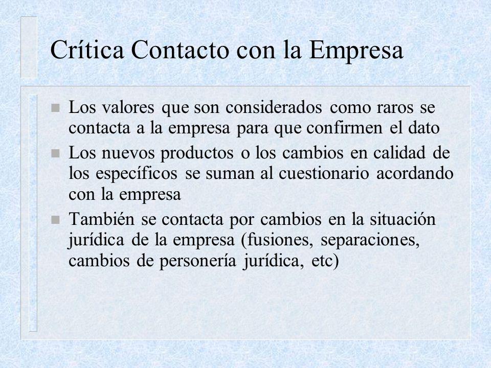 Crítica Contacto con la Empresa