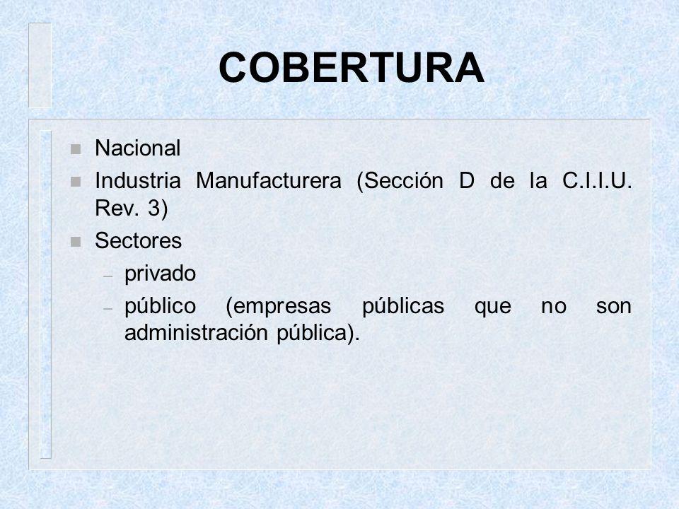 COBERTURA Nacional. Industria Manufacturera (Sección D de la C.I.I.U. Rev. 3) Sectores. privado.