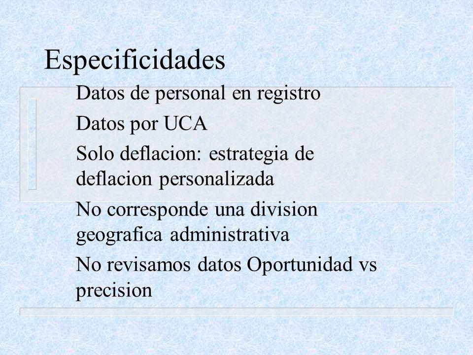 Especificidades Datos de personal en registro Datos por UCA