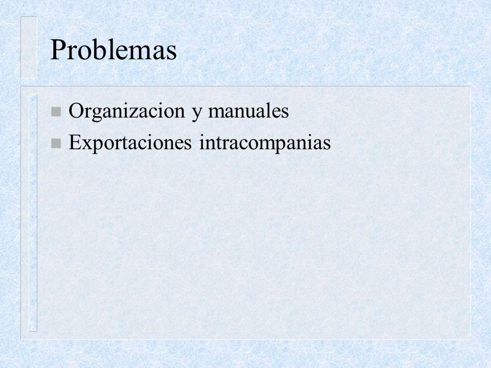 Problemas Organizacion y manuales Exportaciones intracompanias