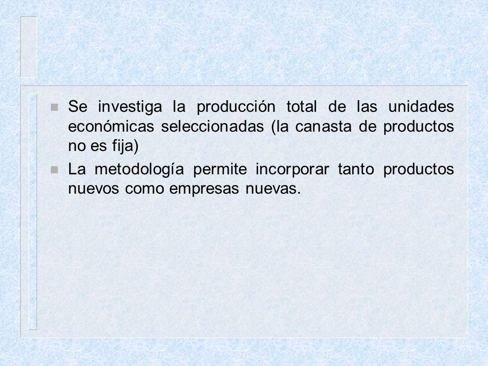 Se investiga la producción total de las unidades económicas seleccionadas (la canasta de productos no es fija)
