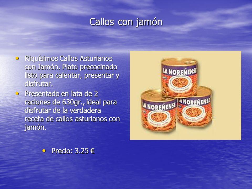 Callos con jamón Riquísimos Callos Asturianos con Jamón. Plato precocinado listo para calentar, presentar y disfrutar.