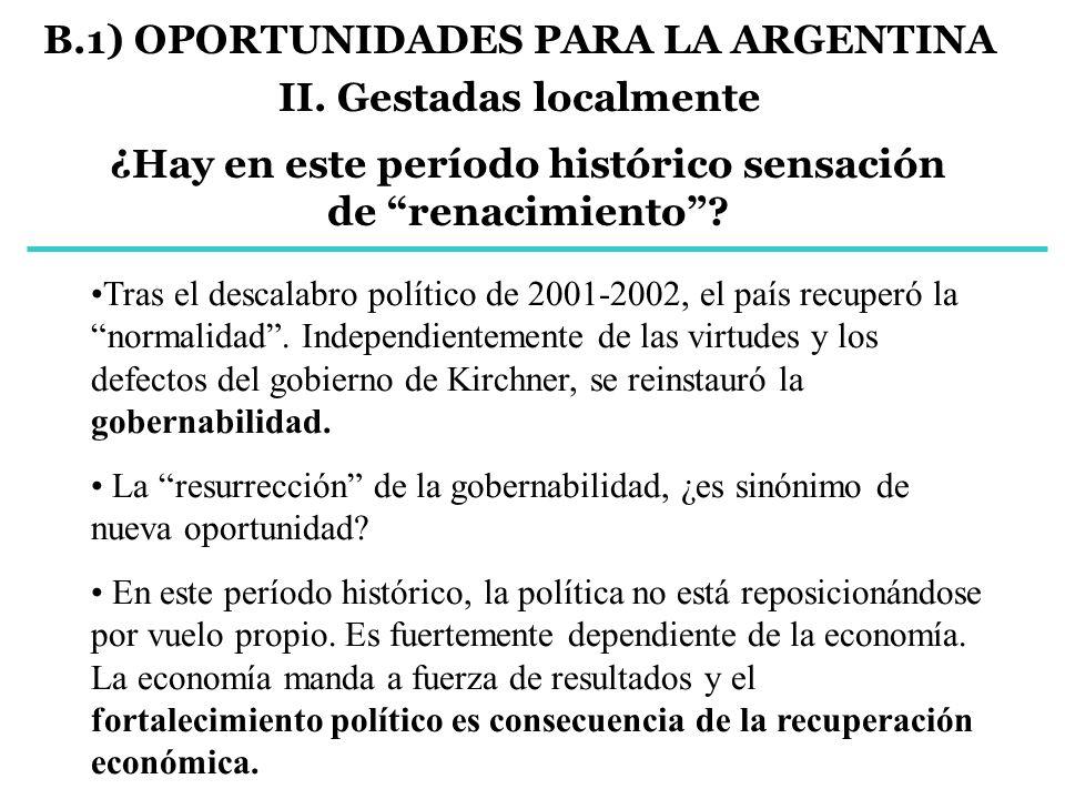 B.1) OPORTUNIDADES PARA LA ARGENTINA II. Gestadas localmente