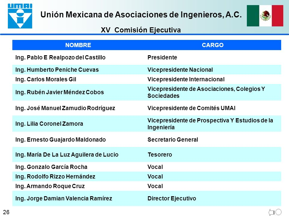 XV Comisión Ejecutiva NOMBRE CARGO Ing. Pablo E Realpozo del Castillo