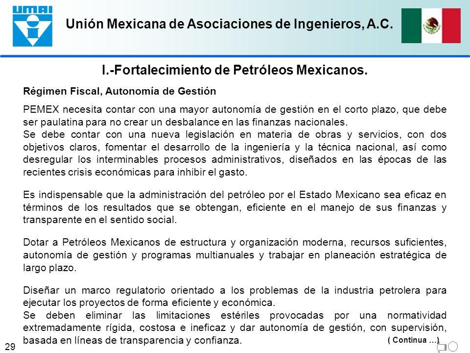 I.-Fortalecimiento de Petróleos Mexicanos.
