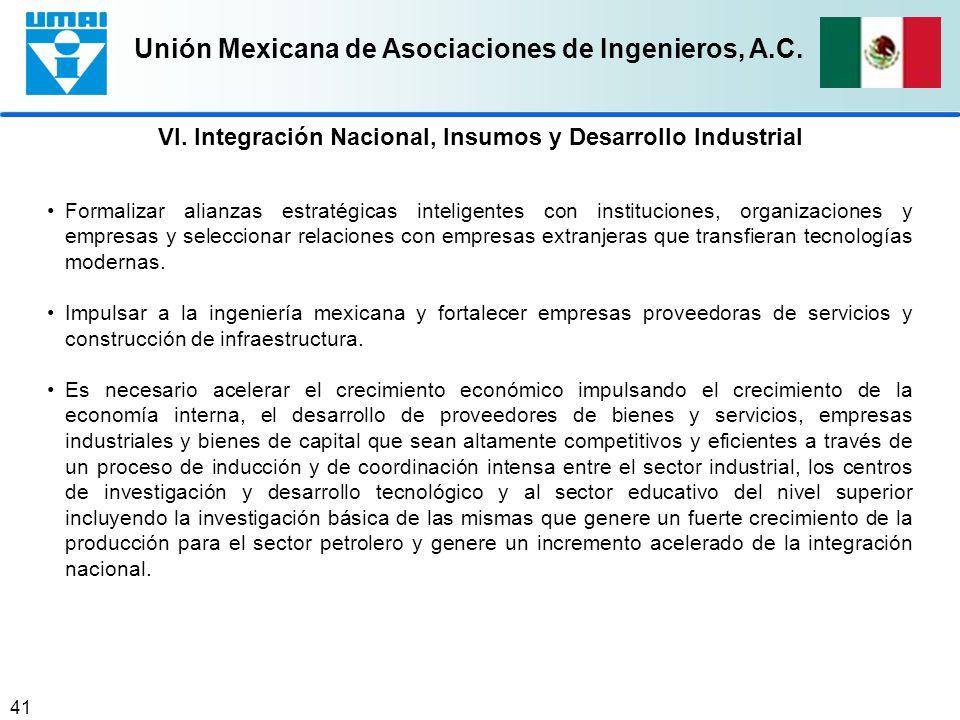 VI. Integración Nacional, Insumos y Desarrollo Industrial