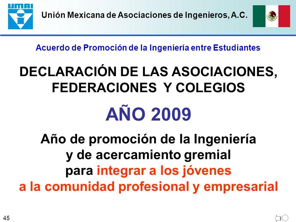 AÑO 2009 DECLARACIÓN DE LAS ASOCIACIONES, FEDERACIONES Y COLEGIOS
