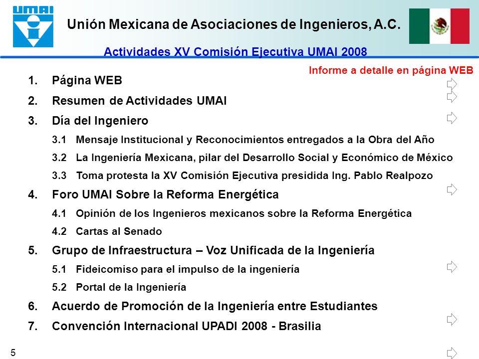 Actividades XV Comisión Ejecutiva UMAI 2008