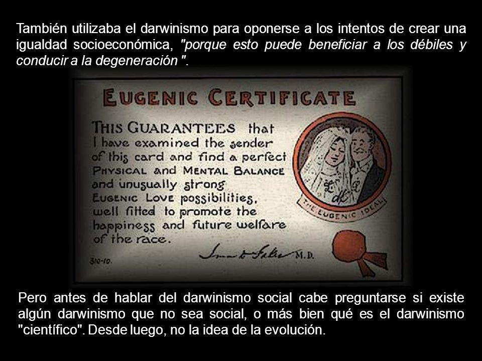 También utilizaba el darwinismo para oponerse a los intentos de crear una igualdad socioeconómica, porque esto puede beneficiar a los débiles y conducir a la degeneración .