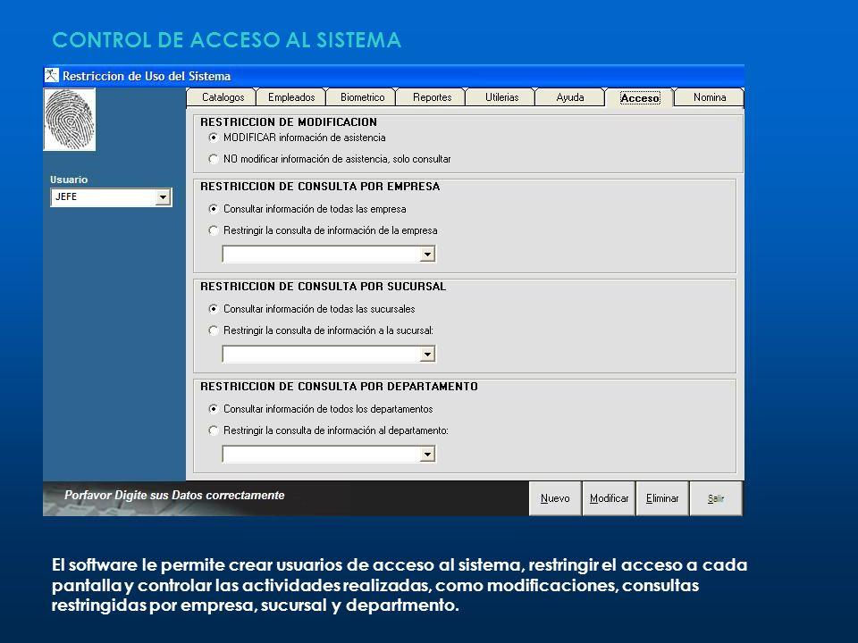 CONTROL DE ACCESO AL SISTEMA