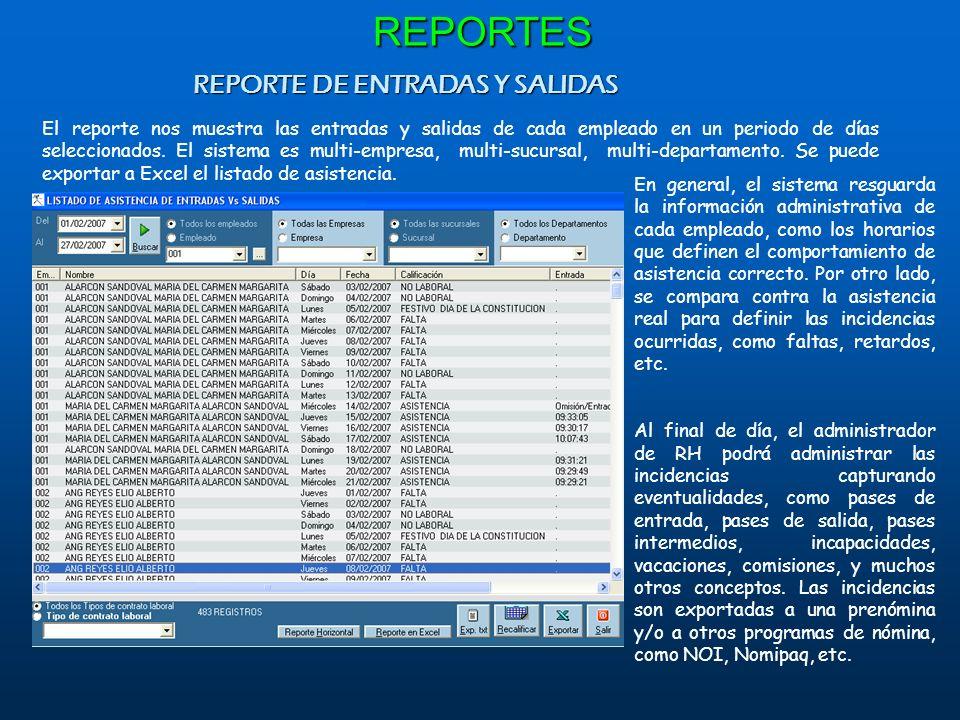 REPORTE DE ENTRADAS Y SALIDAS