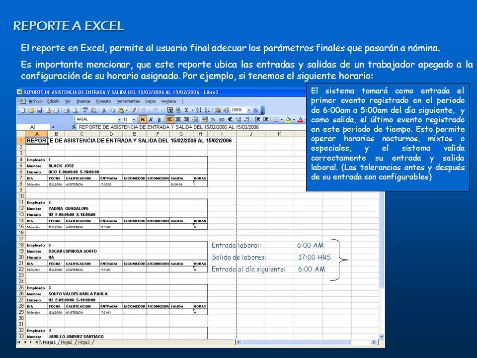 REPORTE A EXCEL El reporte en Excel, permite al usuario final adecuar los parámetros finales que pasarán a nómina.
