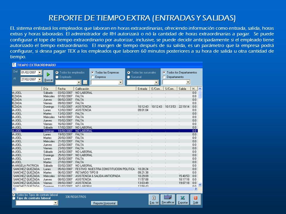REPORTE DE TIEMPO EXTRA (ENTRADAS Y SALIDAS)