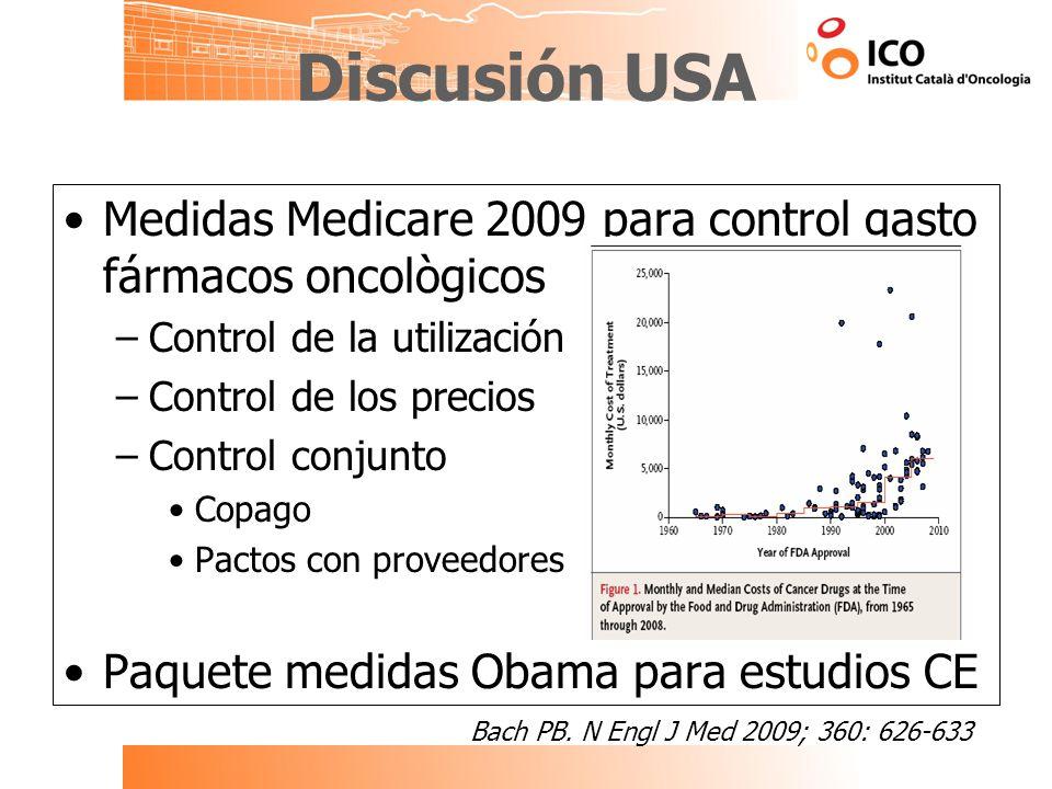 Discusión USA Medidas Medicare 2009 para control gasto fármacos oncològicos. Control de la utilización.