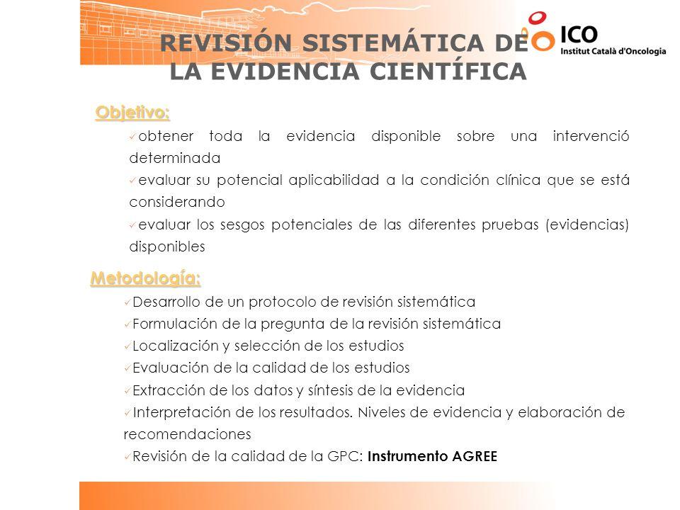REVISIÓN SISTEMÁTICA DE LA EVIDENCIA CIENTÍFICA