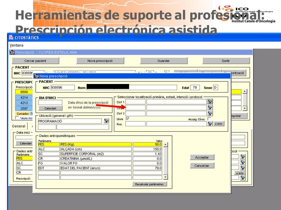 Herramientas de suporte al profesional: Prescripción electrónica asistida