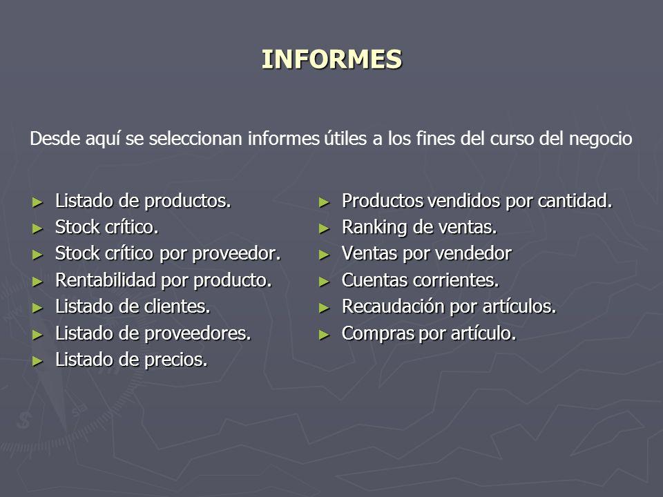 INFORMES Desde aquí se seleccionan informes útiles a los fines del curso del negocio. Listado de productos.