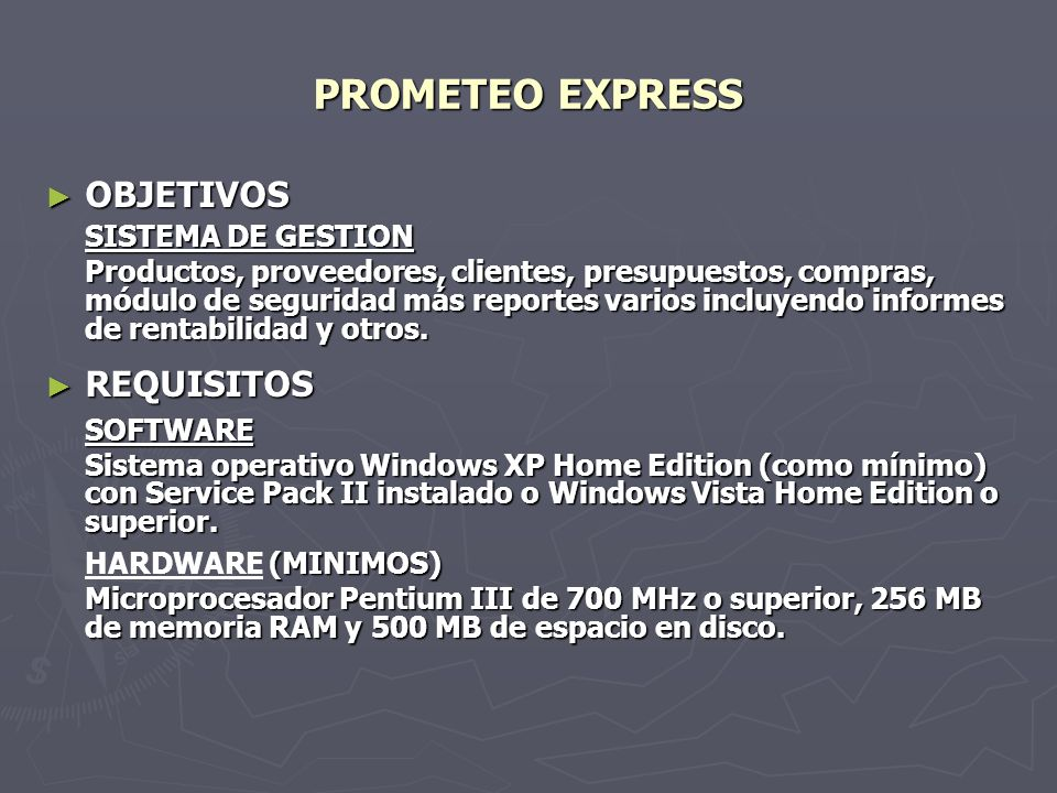 PROMETEO EXPRESS OBJETIVOS REQUISITOS SISTEMA DE GESTION