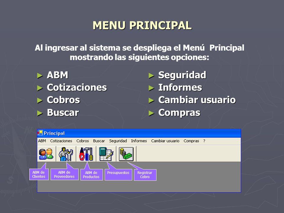 MENU PRINCIPAL ABM Cotizaciones Cobros Buscar Seguridad Informes