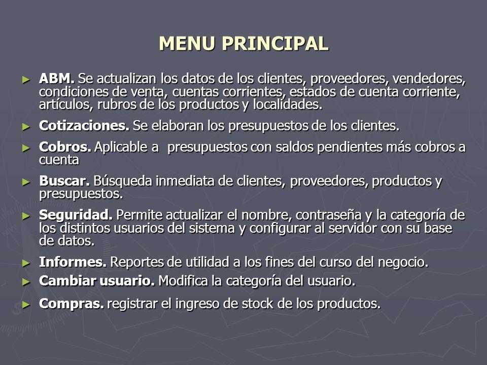 MENU PRINCIPAL