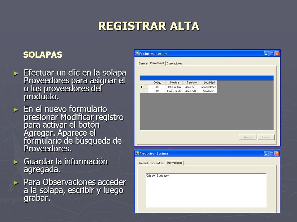 REGISTRAR ALTA SOLAPAS