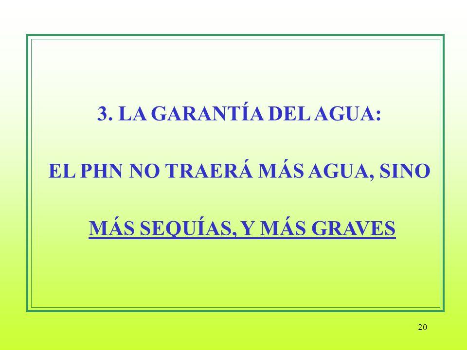 3. LA GARANTÍA DEL AGUA: EL PHN NO TRAERÁ MÁS AGUA, SINO MÁS SEQUÍAS, Y MÁS GRAVES