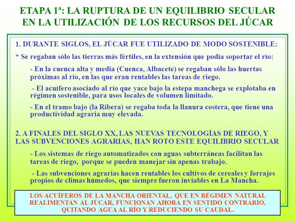 ETAPA 1ª: LA RUPTURA DE UN EQUILIBRIO SECULAR EN LA UTILIZACIÓN DE LOS RECURSOS DEL JÚCAR