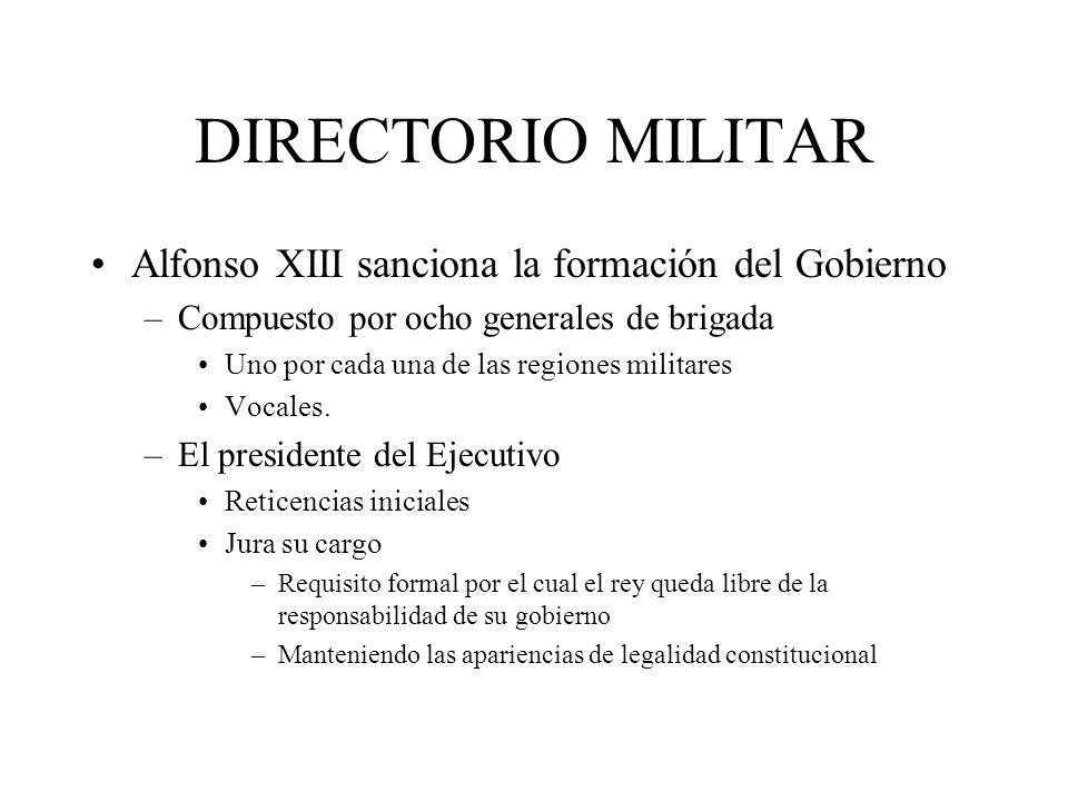 DIRECTORIO MILITAR Alfonso XIII sanciona la formación del Gobierno
