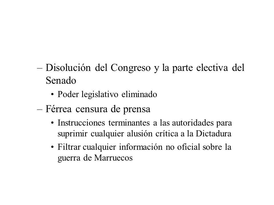 Disolución del Congreso y la parte electiva del Senado